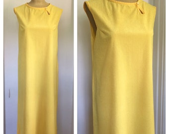 vintage 1960's yellow textured shift dress/cover up