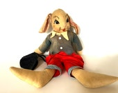 Vintage Bunny In hand Made/ Soft toy Bunny/Easter Bunny Toy/ Bunny rabbit