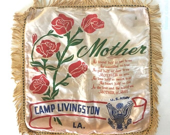Vintage Army Mothers Day Souvenir Pillow cover.