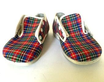 Vintage plaid Baby Shoes