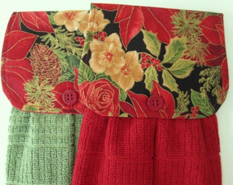 Hanging Kitchen Towel Set - Paisley Poinsettia Roses Pine Cones Christmas Cotton Print Fabric  Red GreenTerry Cloth Towel Button Closure