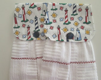 Hanging Kitchen Towel Set- Lighthouse Nautical Compass White Terry Cloth Towels Button Closure