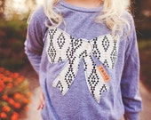 """Swanky Shank """"Miss Fancy Pants"""" Stamped Bow-Cut-Out Sweatshirt; Peach and Black Geometric Patterned Shirt; Girls I'm so fancy shirt"""