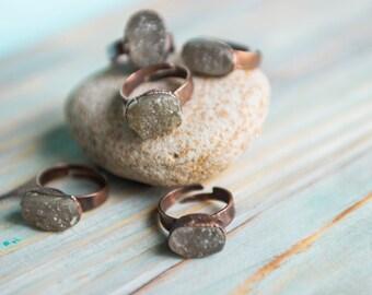 Quartz druzy ring, Boho ring, Crystal copper ring, Adjustable rustic ring, Boho chic jewelry, Healing crystals, Yoga crystals