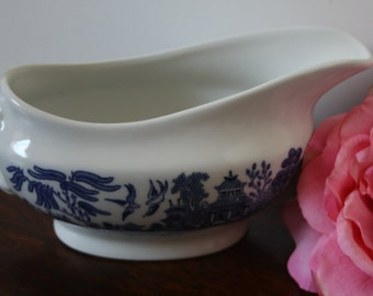 Blue Willow Gravy Boat England Churchill Staffordshire Made in England Blue and White