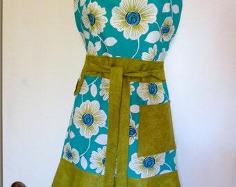 Teal/Olive Floral Print Full Apron