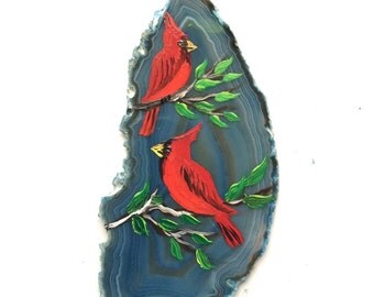 Hand Painted Brazilian Agate Magnet Cardinals