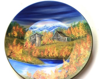 Hand Painted 11 Inch Gold Pans Mountain Fall Cabin  Out House