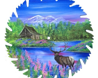 Hand Painted Saw Blade Mountain Summer Log Cabin and ELK SALE
