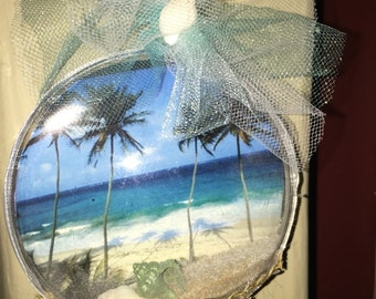Beach themed ornament with real shells and sand