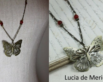 Butterfly Necklace - Butterfly and agate beads . Semiprecious gate beads and Butterfly necklace