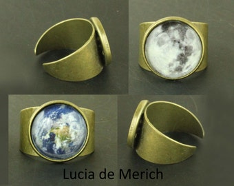 Earth ring - Planet earth jewelry - Astronomy, Space, Universe, Planetary Jewelry