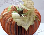 BOOK-KIN.Pumpkin Halloween Decoration OOAK Hand Made Carved Book Sculpture Fall Autumn Thanks Giving Decor Orange Leaves Table Centre Piece