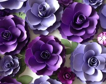 Purple Paper Flowers - Wedding Arch Decor - Flower Backdrop - Wedding Flowers - Bridal Shower - Paper Flower Wall Display