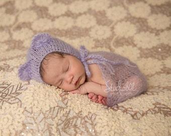 Newborn Bonnet, Mohair Bonnet, Bear Ears Hat, Newborn Wrap, Lace Blanket, Lace Mohair Wrap in Light Purple, Choose more colors