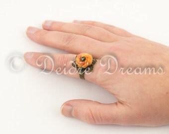 Orange Sunflower Ring, Boho Ring, Hippie Jewelry, Eco Friendly Fiber Felt Ring, Textile Jewelry Bead Ring Bohemian Eco Jewelry Fiber Jewelry