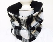 Collar Scarf, Cowl, unisex neckwarmer black and white check warm reclaimed repurposed fabric RUDY