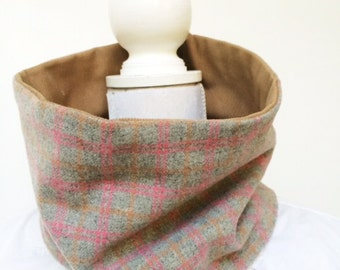 Collar Scarf, Cowl, unisex Neckwarmer Pink, Grey, and Tan Plaid, Lined warm reclaimed repurposed fabric