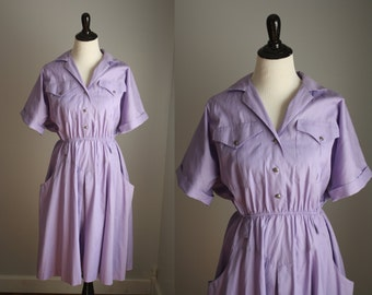 1970s shirtwaist dress | vintage 70s lavender dress