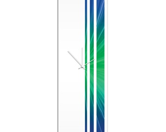 Large Modern Clock 'Cool Triple Stripe Clock' by Adam Schwoeppe - Wall Decor Minimalist Accent Piece on Acrylic