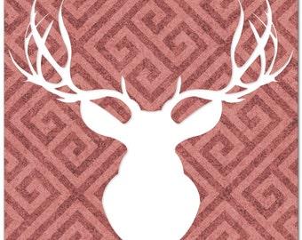 Marsala Decor Deer Head 'Aegeus Marsala' Greek Pattern Metal Wall Art - Elk Antlers Silhouette, Faux Taxidermy, Contemporary Animal Artwork