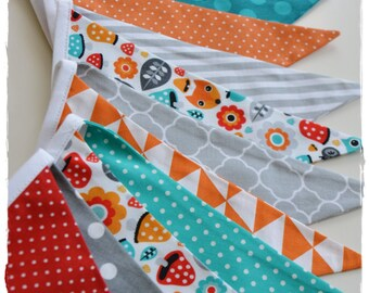 Autumn Forest, Gril Garland, Bunting Banner, Boy Nursery Decor, Photo Prop,Baby Shower, Fabric Flags - Grey, Orange, Red, Teal