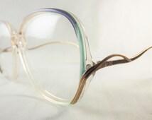Big Eyeglasses, Womens Big Green Blue and  Gold Frames, Fun Vintage Glasses, Designer Oscar De La Renta 1980's Eyeglasses