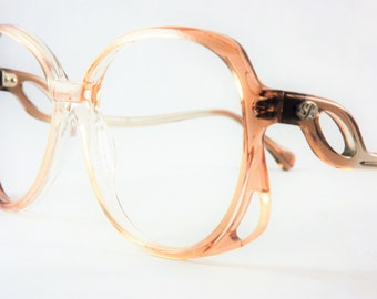 Womens Big Eyeglasses, Oversized Copper Pink Square Frames, Vintage Sophia Loren Funky Glam Glasses