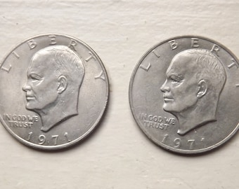 1971 & 1971 D Eisenhower Dollar Collectible Coins, Set of 2 Collector Coins