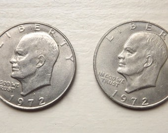 1972 & 1972 D Eisenhower Dollar Collectible Coins, Set of 2 Collector Coins