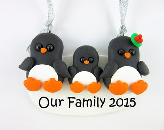 Personalize Penguin Family of Three Christmas Ornament Polymer Clay
