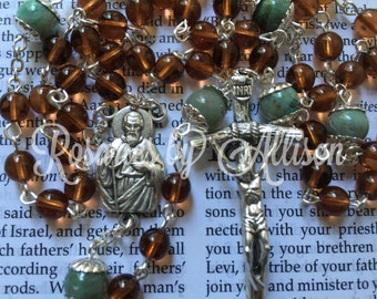 Brown 'Coffee' Czech glass and African Jade gemstone round bead rosary with silver plated St. Jude center and Papal crucifix