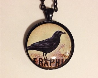 Raven pendant in black, with matching necklace