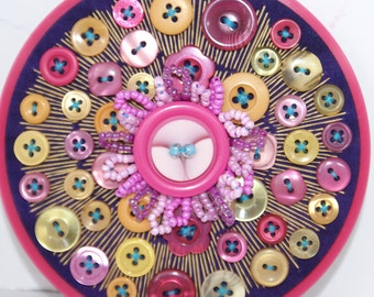 Embroidery Hoop Art, Textile Vintage Button Art, HIPPIE DIPPIE, Pink, Purple, Gold Wall Art
