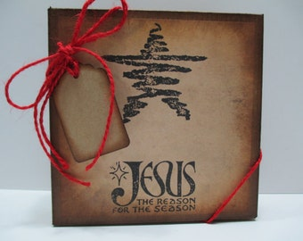 KRAFT Jesus is the Reason Christmas Gift Box, Vintage Inspired, Distressed, Includes Kraft Tissue, Red Jute and Distressed Gift Tag