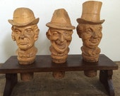 Vintage Set of Three Wood Carved Cork Bottle Stoppers with Stand