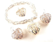 ON HOLD 12/30 to 1/01 Sterling Hearts Jewelry Set Bracelet Earrings Pendant Necklace Fancy Filigree Caged Hearts Motif