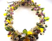 Beaded Necklace Hand Wired Glass Beads Glass Pearl Accents Autumn Harvest Fall Fair Flare Summer Fest