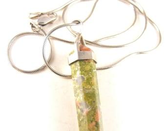 Unakite Pendant Necklace Semi Precious Gemstone Bonus Sterling Chain Included