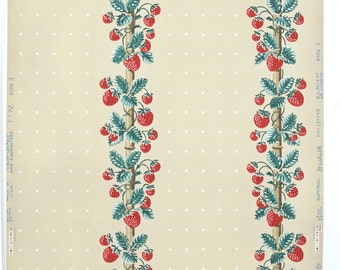REMNANT of Vintage Wallpaper, Single 44 Inch Piece - Segmant of Kitchen Wallpaper with Red and Green Strawberry Stripes on Yellow