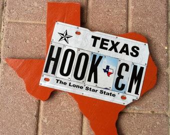 Texas Hook 'Em License Plate Art