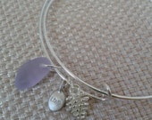 Adjustable Wired Charm Bracelet with Lilac Beach Style Glass Pine Cone and Love Charms and Silver Jewelry