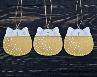 Gold Christmas Ornaments Christmas Decorations Cat Holiday Ornaments Wooden Cats Gold Home Decor Christmas tree Decor Ornament Set of 3