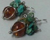 Chandelier earrings, amber earrings silver, turquoise earrings, pebbled earrings, large amber & turquoise jewelry, Big Earrings