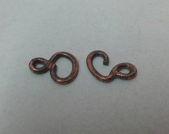 Y1 Copper Hook & Eye Clasps, Unique Handmade Copper Necklace Clasps Oxidized