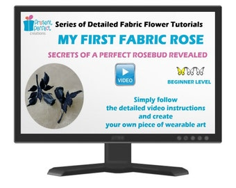 Fabric rose tutorial, fabric rose template, fabric flower tutorial, millinery flower tutorial for beginners, millinery tools, pdf tutorial