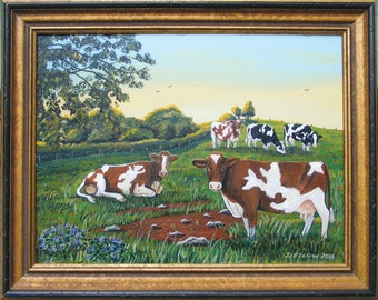 Holstein Dairy Cows in Pasture Framed Original Painting