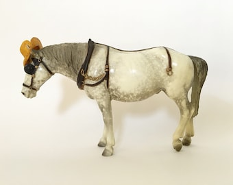 Vintage Breyer Horse Model, Old Timer #205, Dapple Gray Semigloss Traditional Horse Model with Hat and Blinders