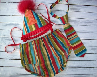 Baby Boy Safari First Birthday Cake Smash Outfit -1st birthday outfit -Diaper Cover, Tie and Party Hat - Sweet At One Birthday -Photo Prop
