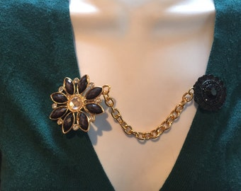 Sweater Clips:Black Beaded Petals with Rhinestone Center